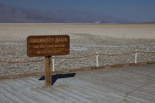 Image of the sign indicating that you are at the Badwater Basin