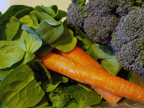 Spinach, broccoli, and carrots