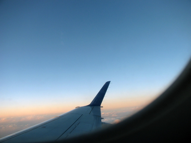 A view out the window of an airplane